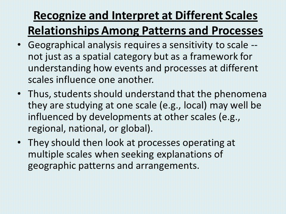 Recognize and Interpret at Different Scales Relationships Among Patterns and Processes