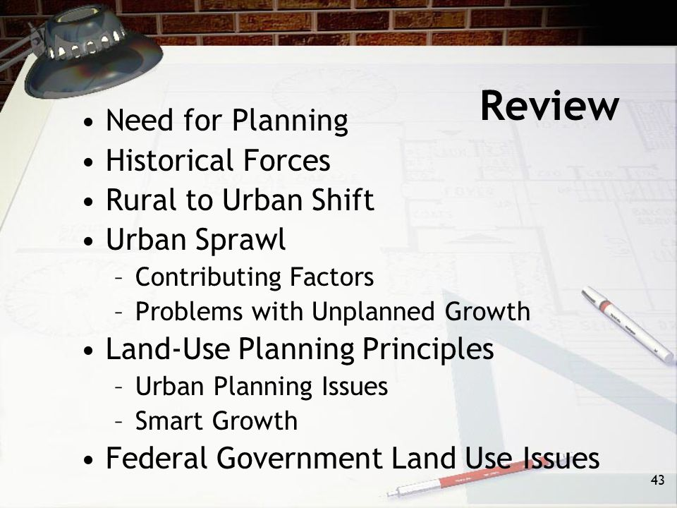 Review Need for Planning Historical Forces Rural to Urban Shift
