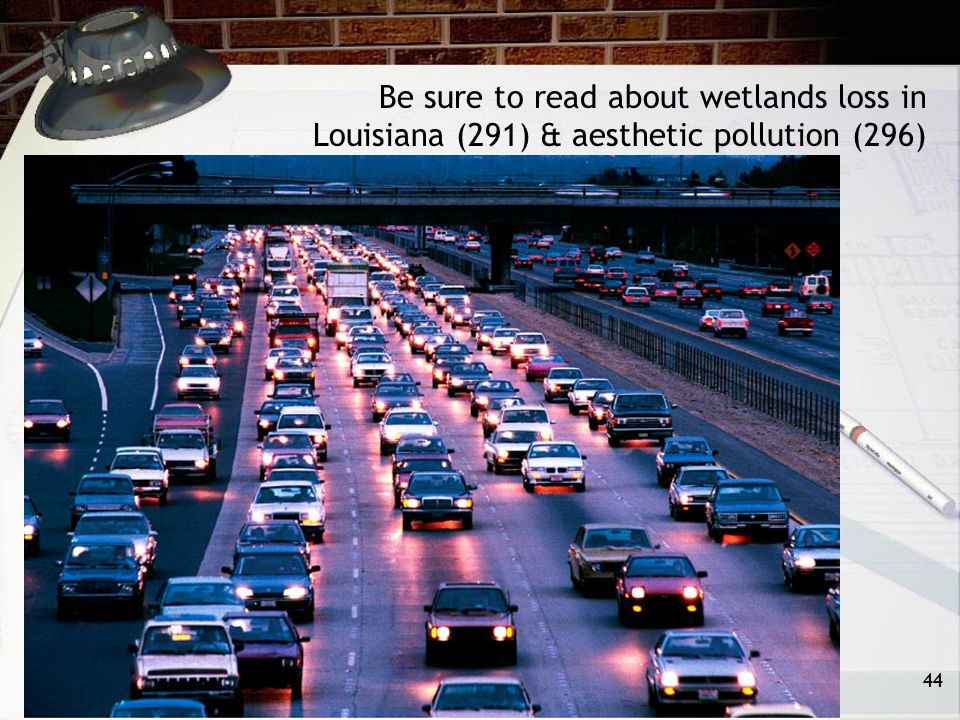 Be sure to read about wetlands loss in Louisiana (291) & aesthetic pollution (296)