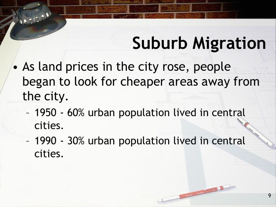 Suburb Migration As land prices in the city rose, people began to look for cheaper areas away from the city.
