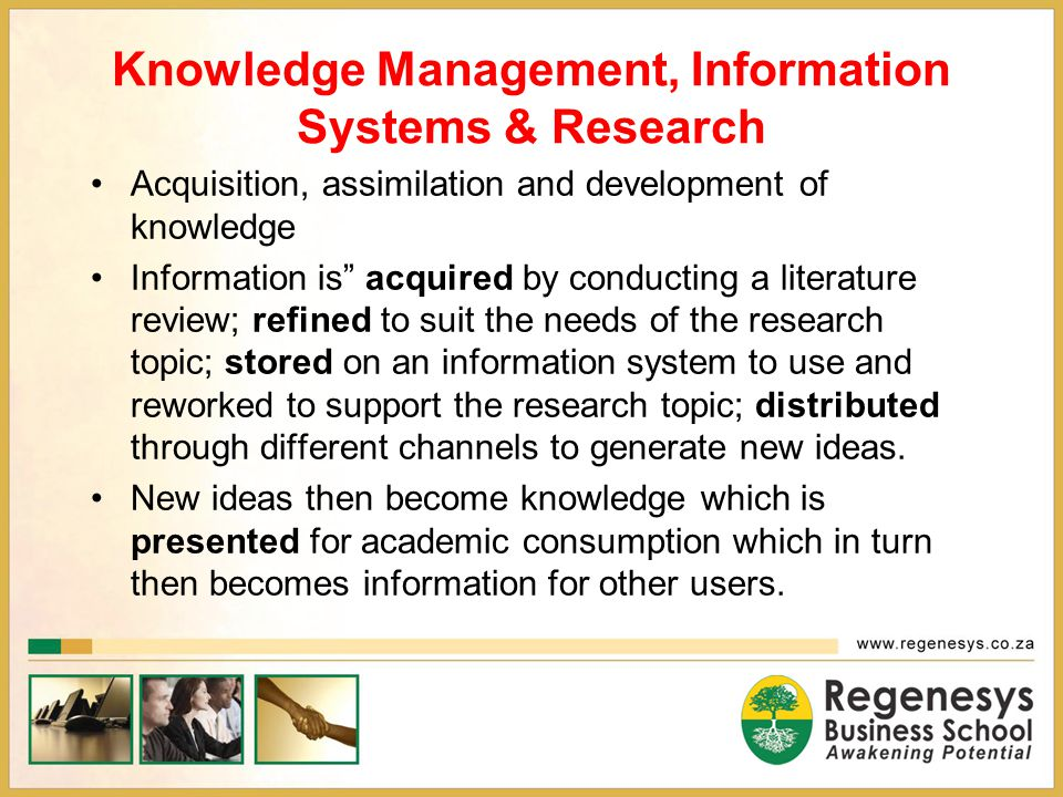 Knowledge Management, Information Systems & Research
