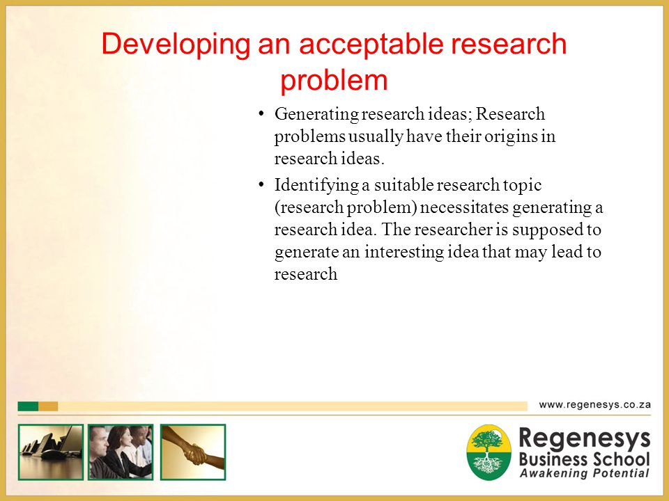 Developing an acceptable research problem