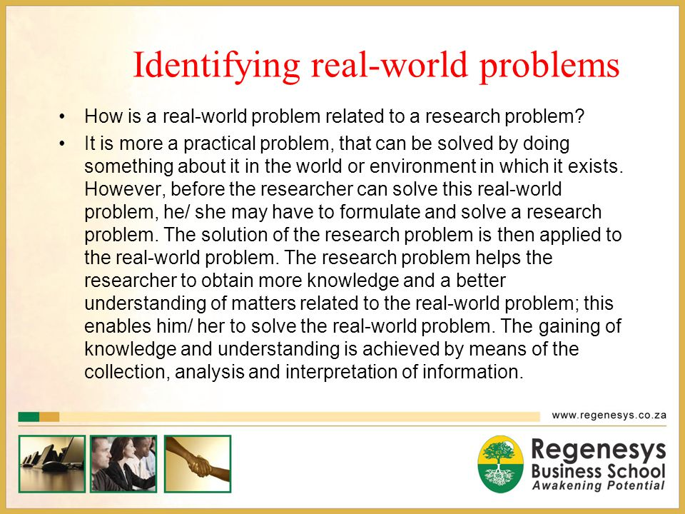 Identifying real-world problems