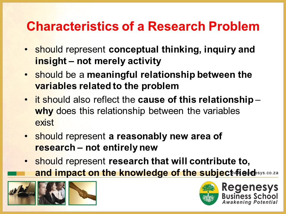 Characteristics of a Research Problem