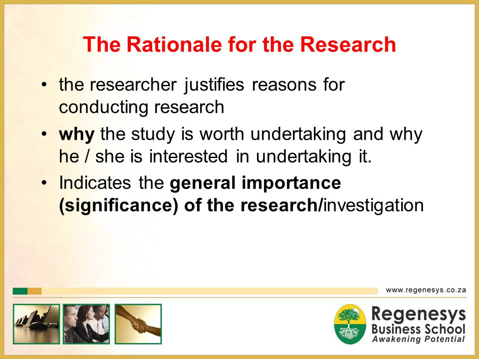The Rationale for the Research