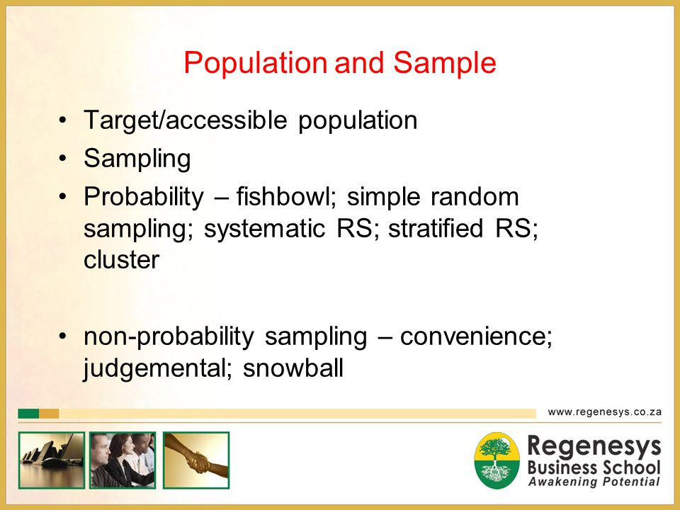 Population and Sample Target/accessible population Sampling