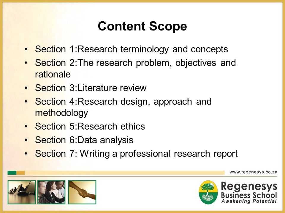 Content Scope Section 1:Research terminology and concepts