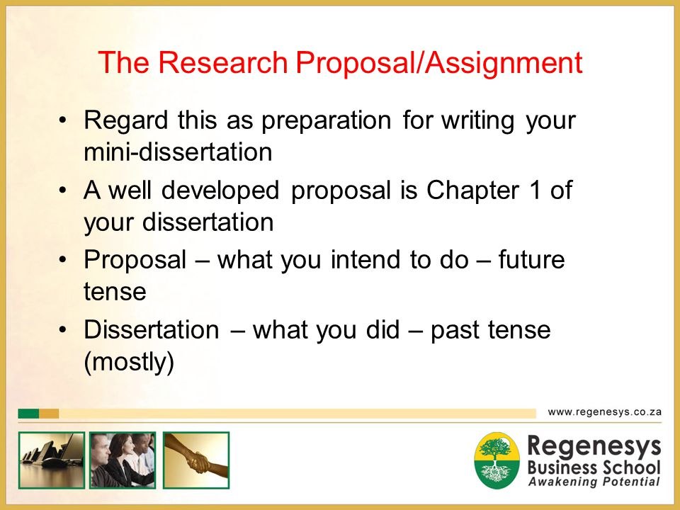 The Research Proposal/Assignment