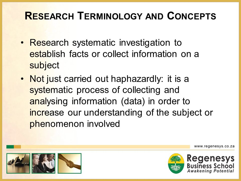 Research Terminology and Concepts