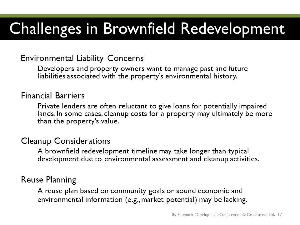 Challenges in Brownfield Redevelopment