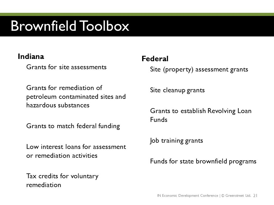 Brownfield Toolbox Indiana Federal Grants for site assessments