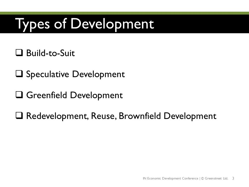 Types of Development Build-to-Suit Speculative Development