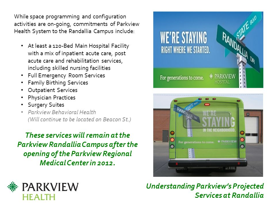 Understanding Parkview's Projected Services at Randallia