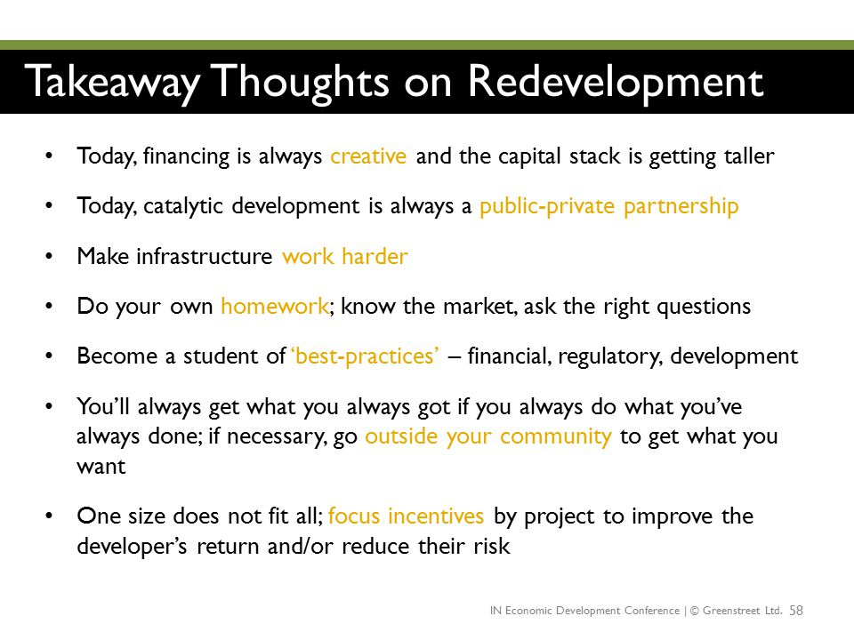 Takeaway Thoughts on Redevelopment
