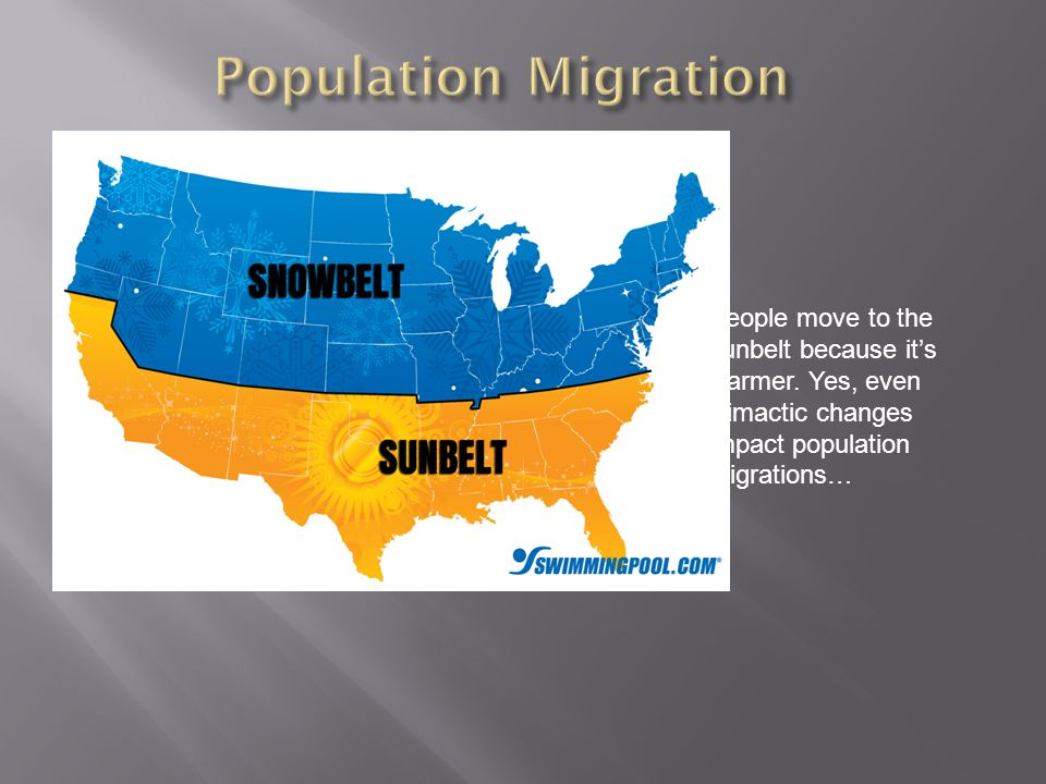 Population Migration People move to the sunbelt because it's warmer.