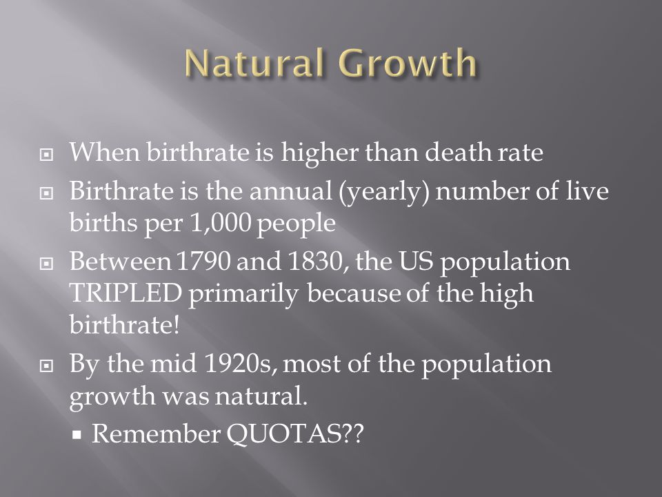 Natural Growth When birthrate is higher than death rate