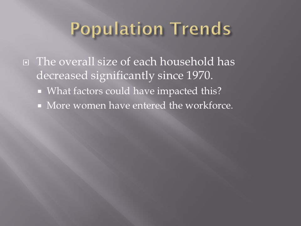 Population Trends The overall size of each household has decreased significantly since 1970. What factors could have impacted this