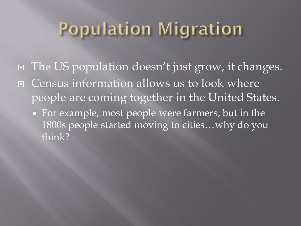 Population Migration The US population doesn't just grow, it changes.