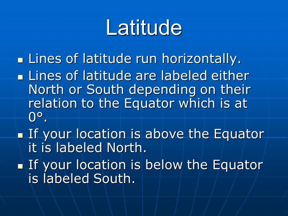 Latitude Lines of latitude run horizontally.