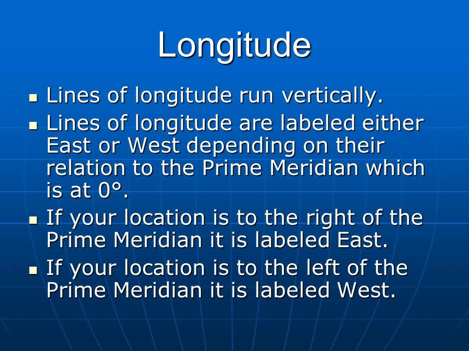 Longitude Lines of longitude run vertically.