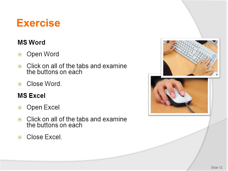 Exercise MS Word Open Word