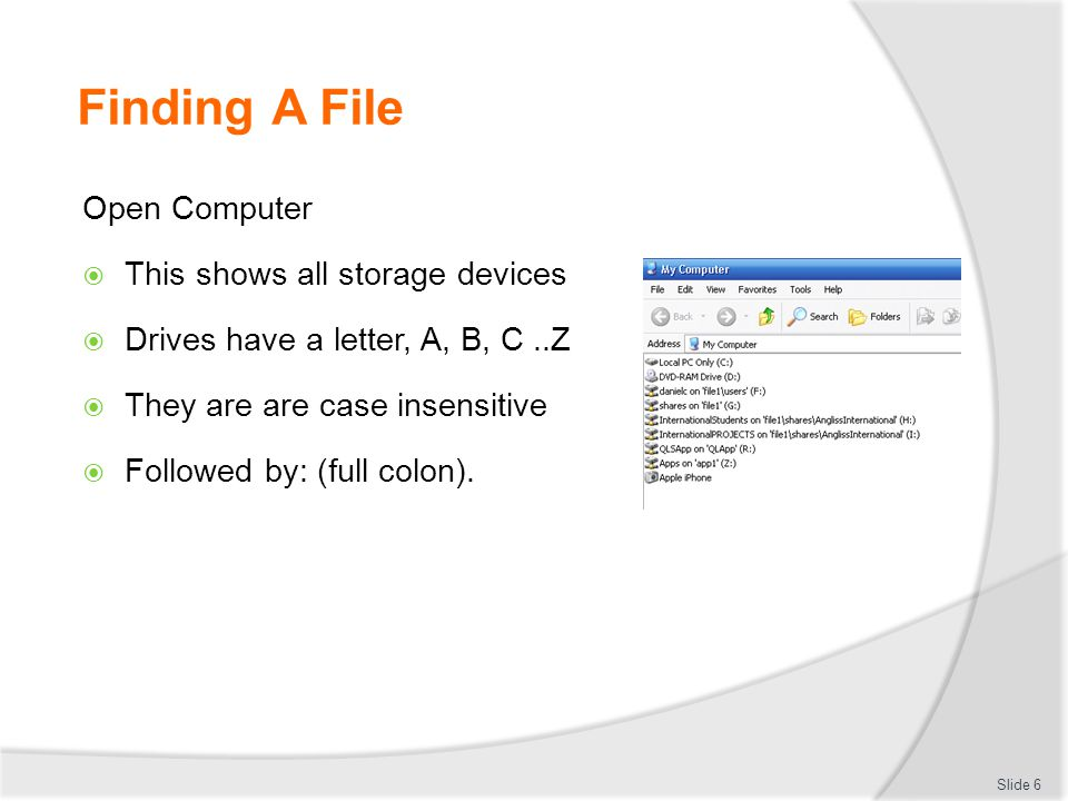 Finding A File Open Computer This shows all storage devices