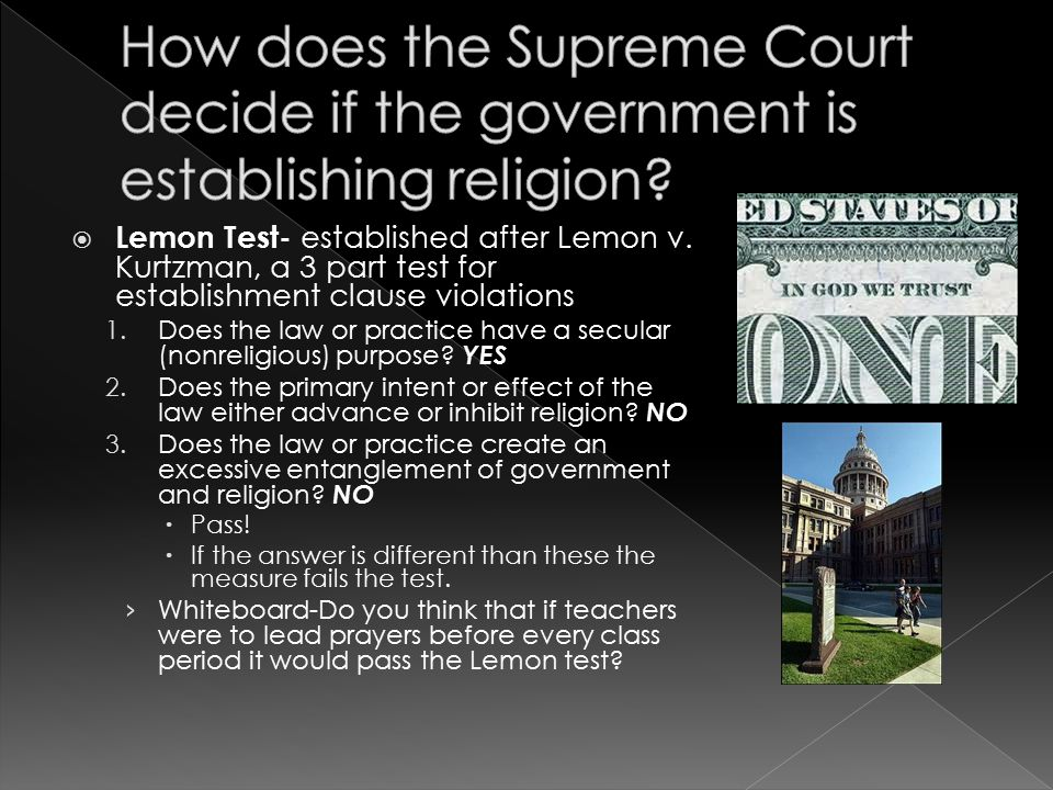 How does the Supreme Court decide if the government is establishing religion
