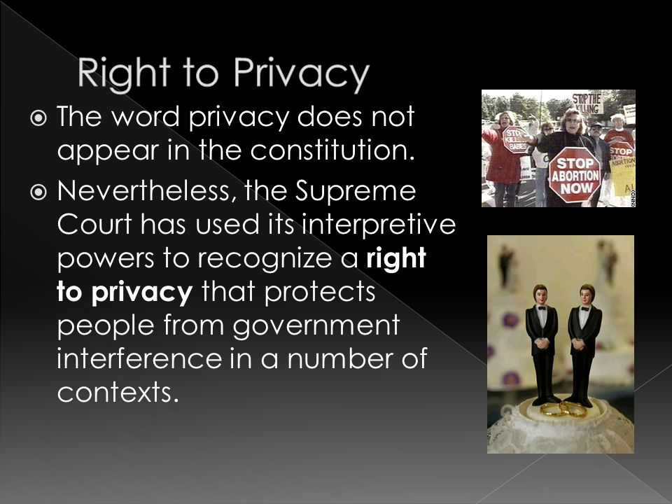 Right to Privacy The word privacy does not appear in the constitution.