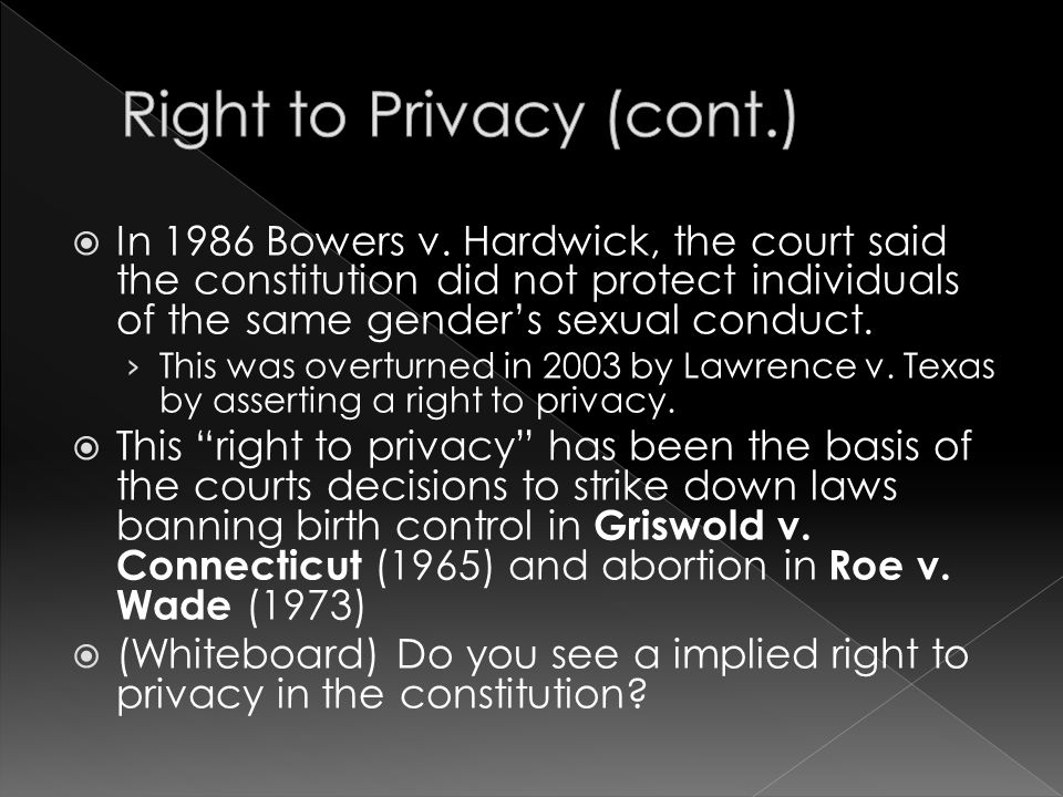 Right to Privacy (cont.)
