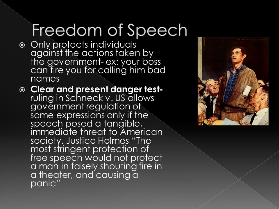 Freedom of Speech Only protects individuals against the actions taken by the government- ex: your boss can fire you for calling him bad names.