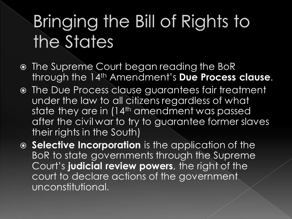 Bringing the Bill of Rights to the States
