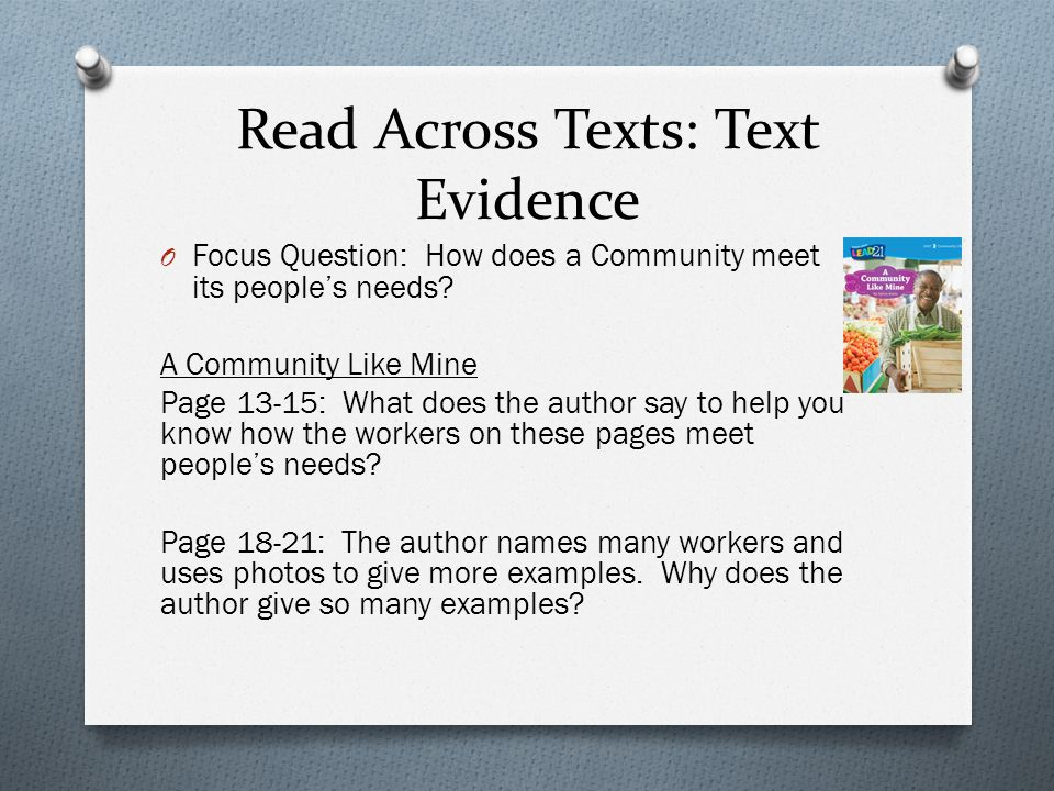 Read Across Texts: Text Evidence