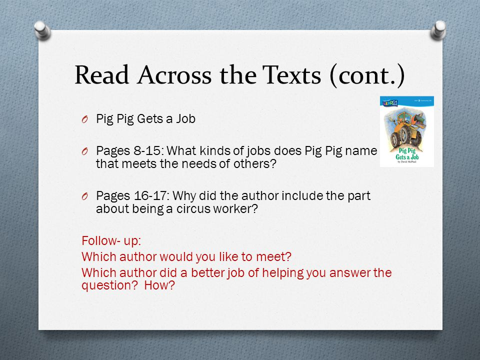 Read Across the Texts (cont.)
