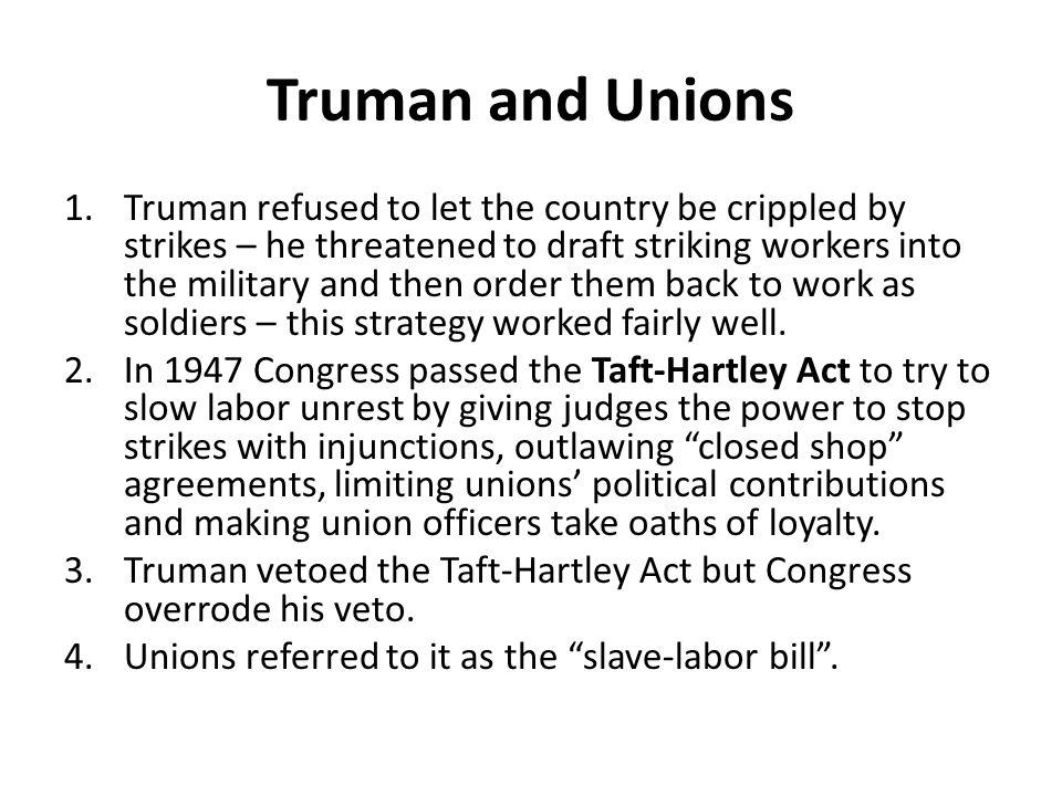 Truman and Unions