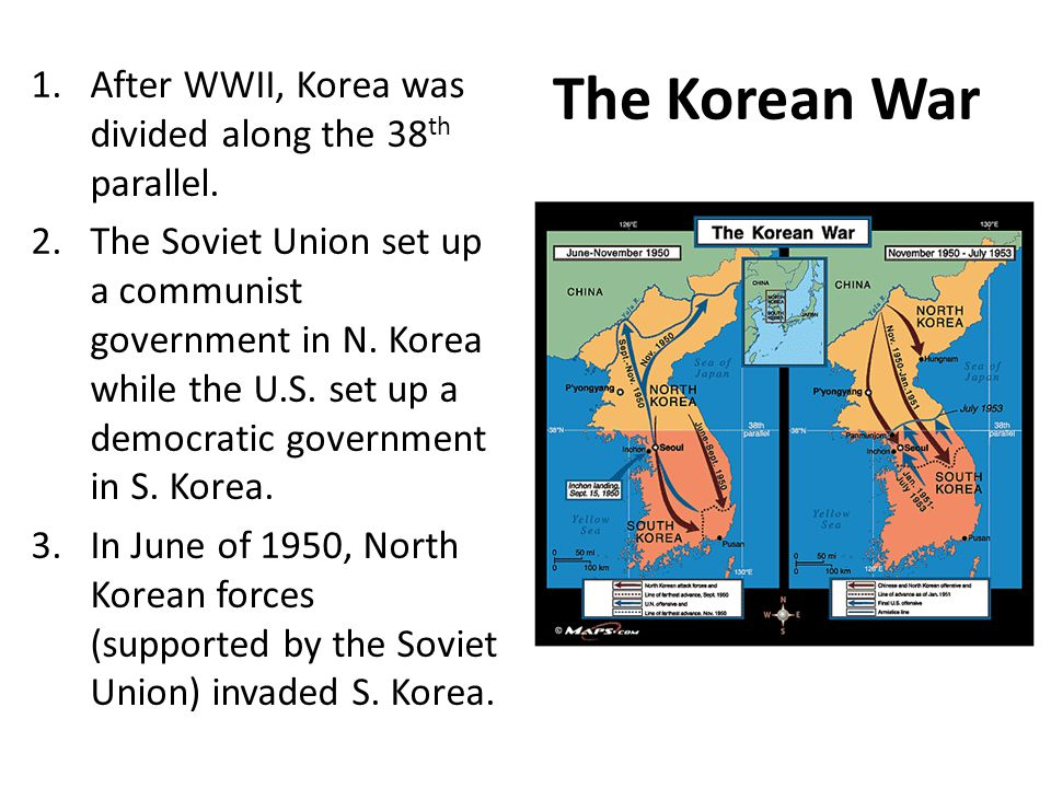 The Korean War After WWII, Korea was divided along the 38th parallel.