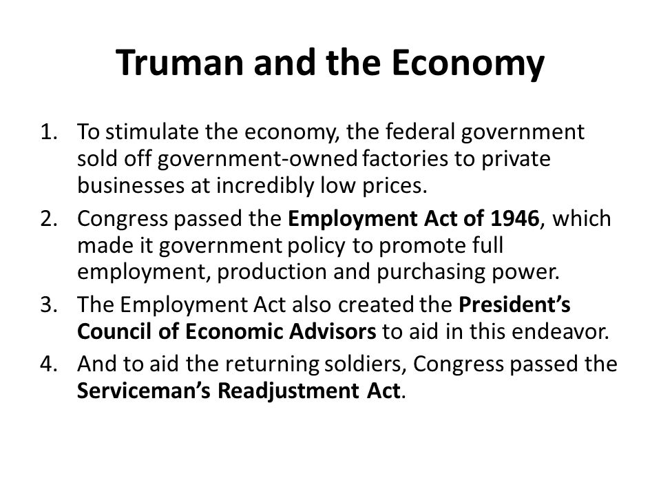 Truman and the Economy
