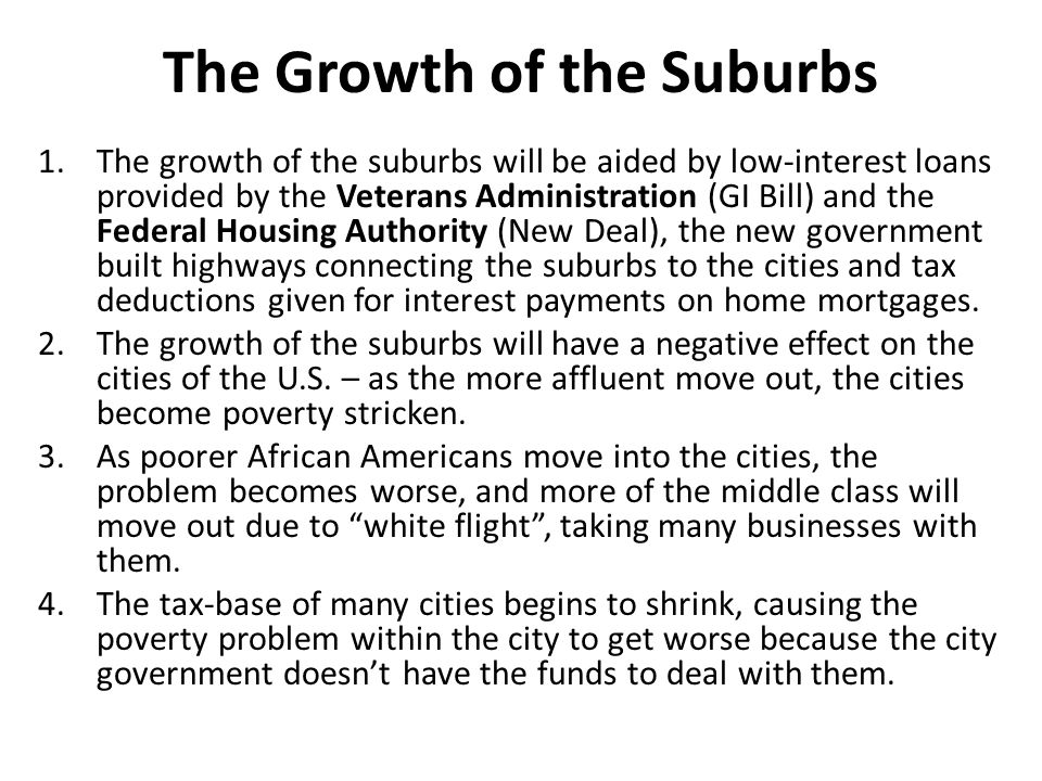 The Growth of the Suburbs