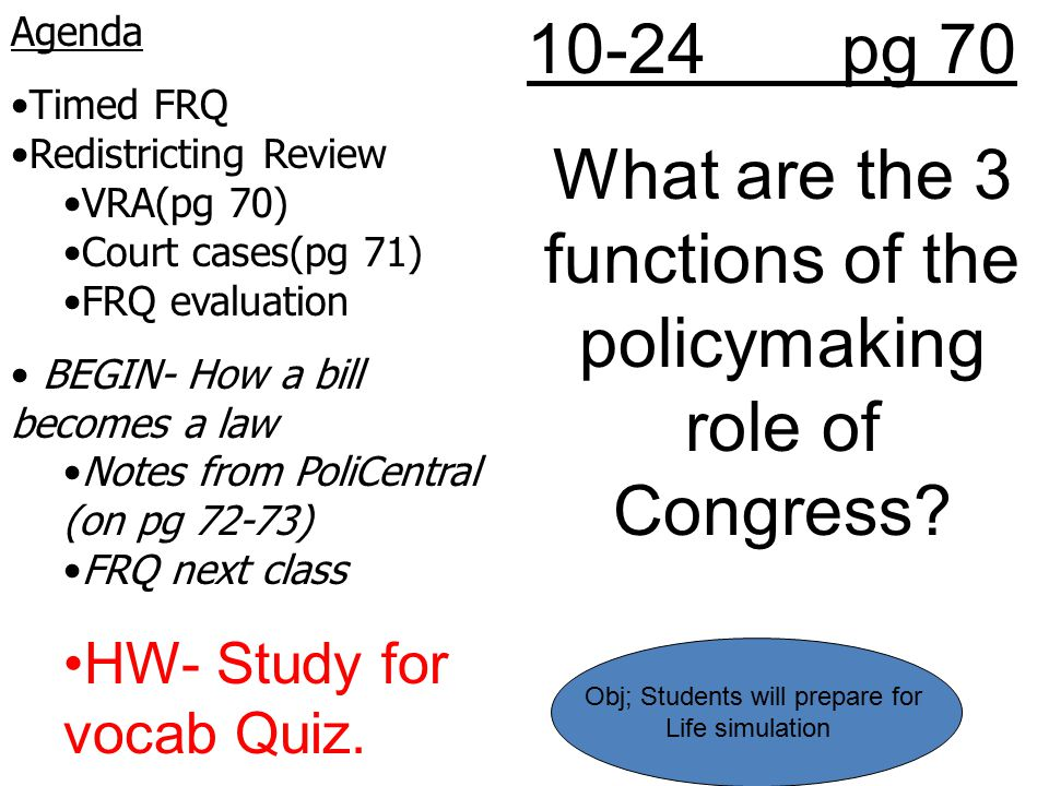 What are the 3 functions of the policymaking role of Congress