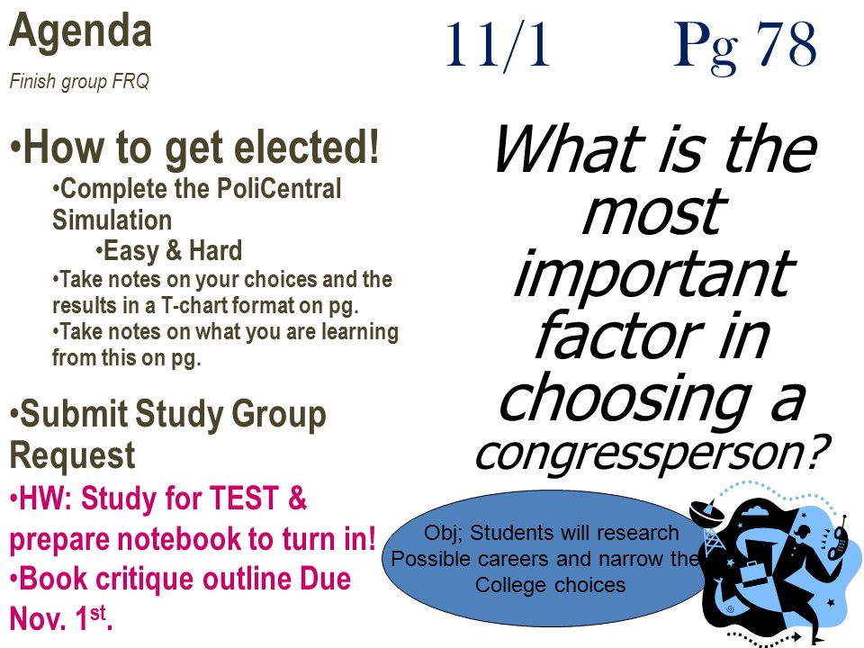 Agenda Finish group FRQ. How to get elected! Complete the PoliCentral Simulation. Easy & Hard.