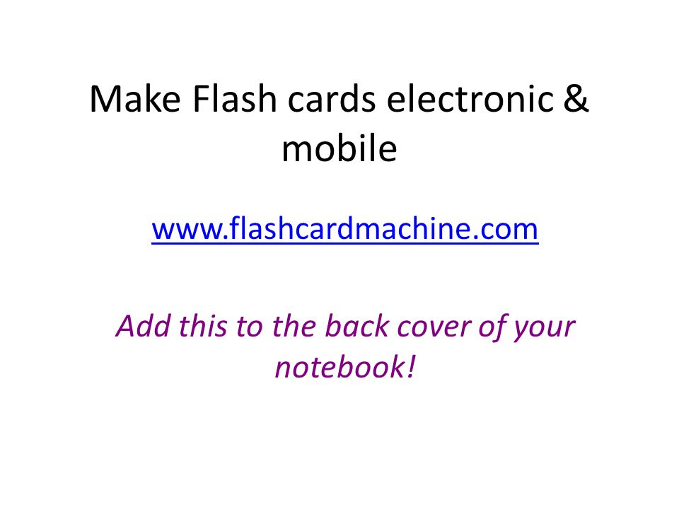 Make Flash cards electronic & mobile