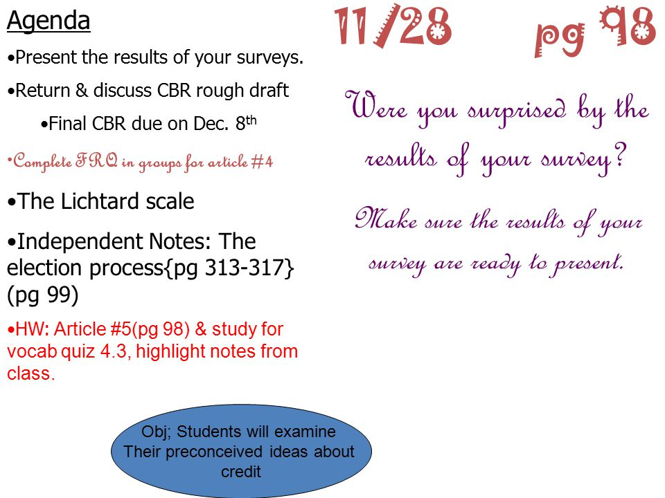 11/28 pg 98 Were you surprised by the results of your survey