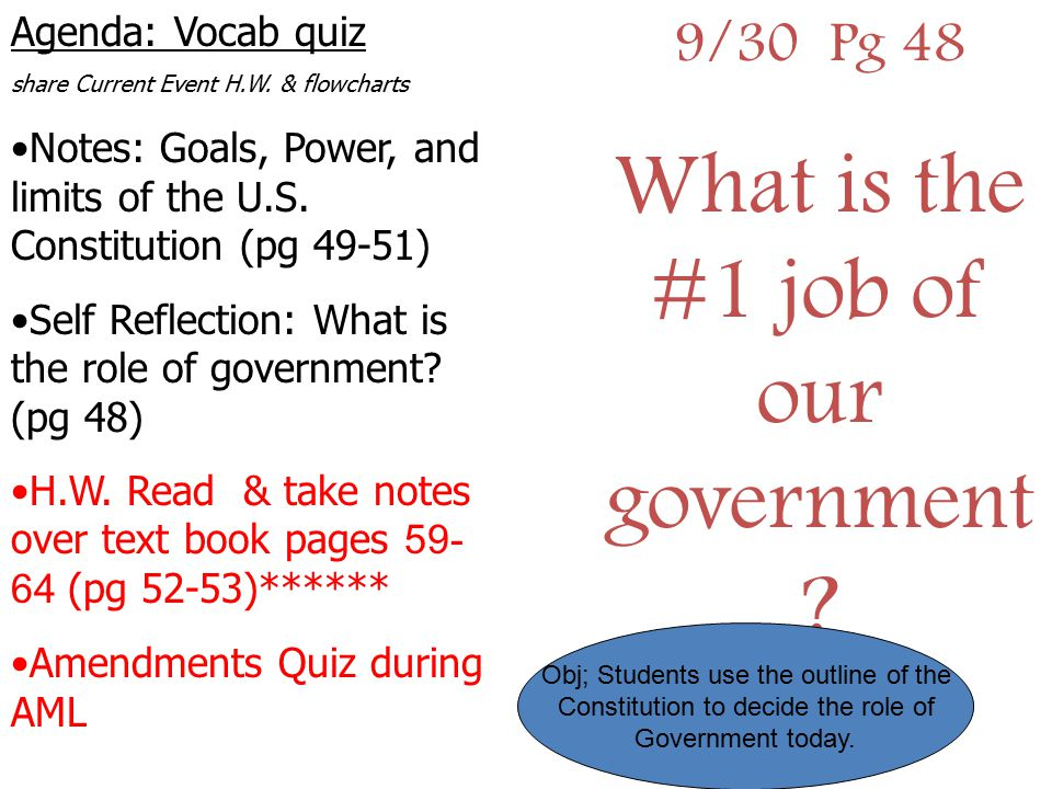 What is the #1 job of our government