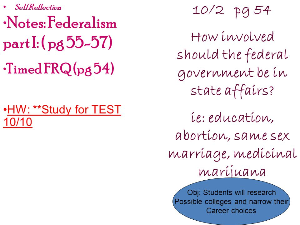 Notes: Federalism part I: ( pg 55-57)