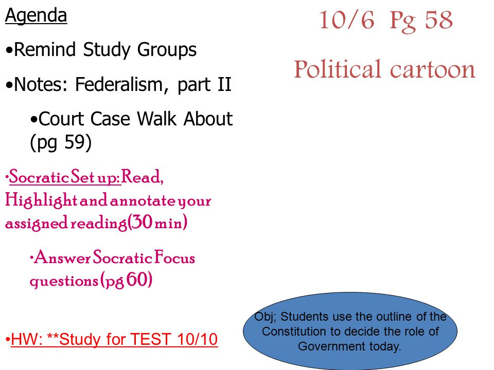 10/6 Pg 58 Political cartoon Agenda Remind Study Groups