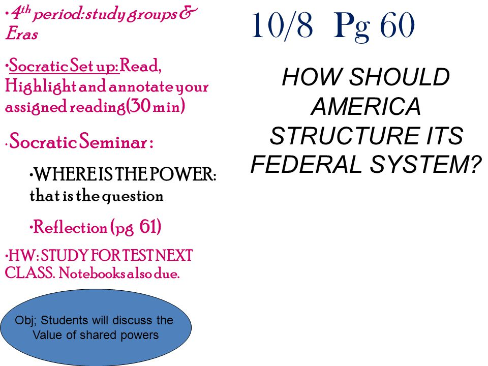 10/8 Pg 60 HOW SHOULD AMERICA STRUCTURE ITS FEDERAL SYSTEM