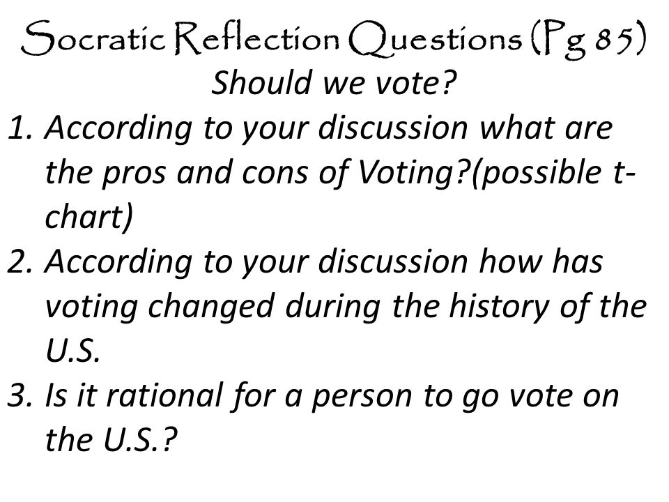 Socratic Reflection Questions (Pg 85)