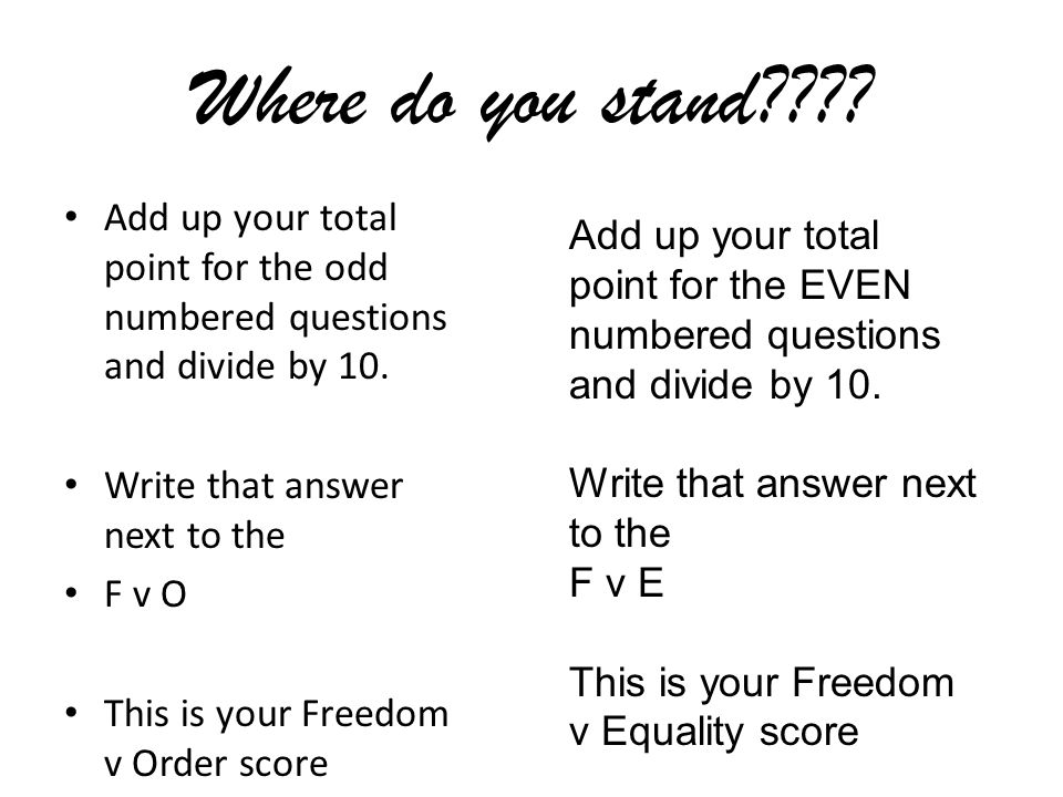 Where do you stand Add up your total point for the odd numbered questions and divide by 10. Write that answer next to the.