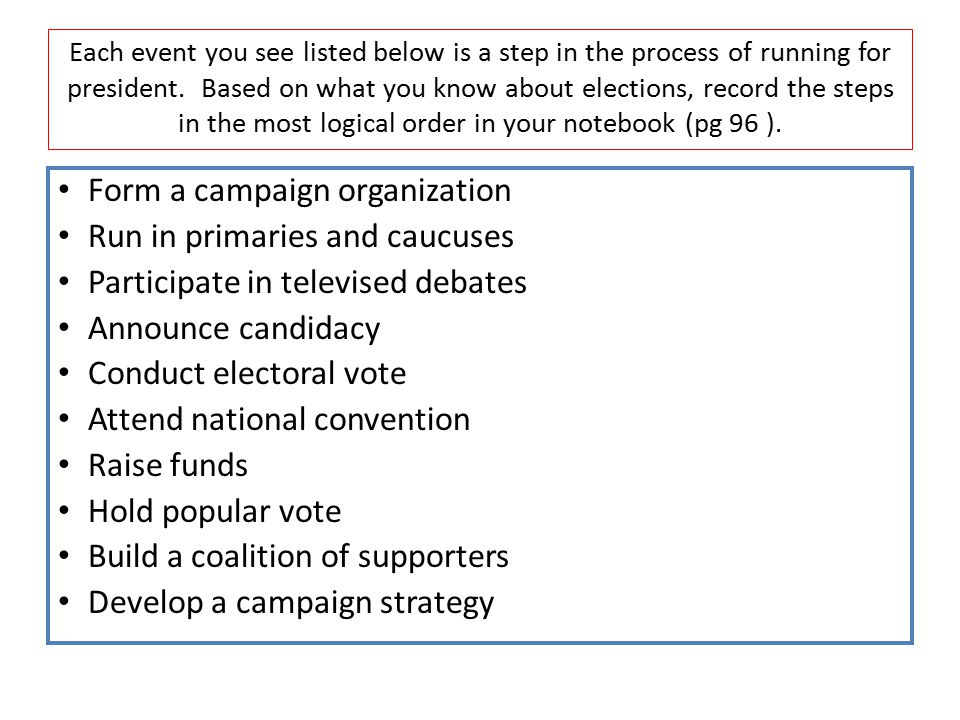 Form a campaign organization Run in primaries and caucuses