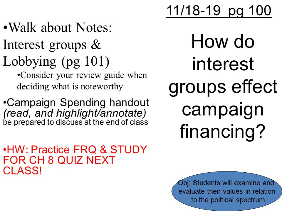 How do interest groups effect campaign financing