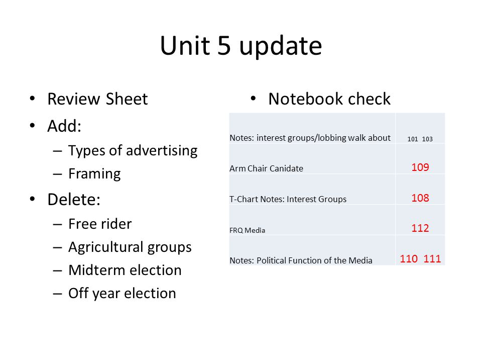 Unit 5 update Review Sheet Add: Delete: Notebook check